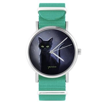 Yenoo watch - Black cat, night - turquoise, nylon