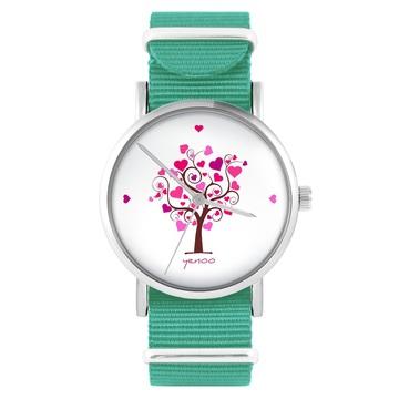 Yenoo watch - Tree of love - turquoise, nylon