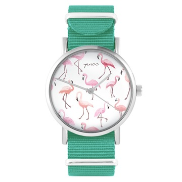 Yenoo watch - Flamingos - turquoise, nylon