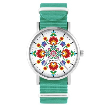 Yenoo watch - Folk mandala - turquoise, nylon