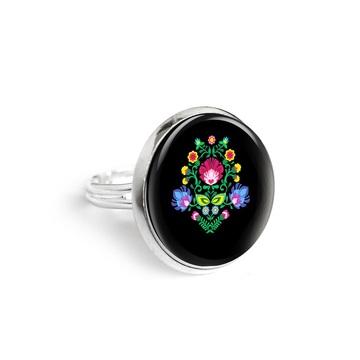 Yenoo ring 18mm - Folk pattern, black