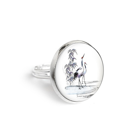 Yenoo ring 18mm - Sumi-e cranes