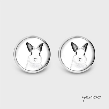 Earrings with graphics - Rabbit