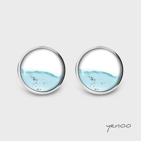 Earrings with graphics - Water