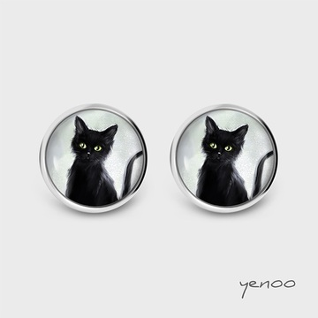 Earrings with graphics - Cat