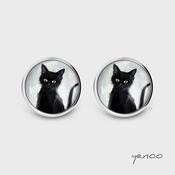 Kolczyki sztyfty - Czarny kot - grafika