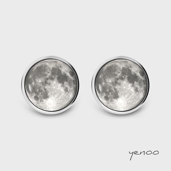 Kolczyki sztyfty - Księżyc - grafika