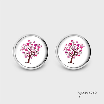 Earrings with graphics - Love tree