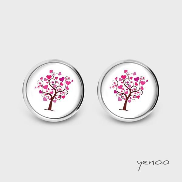 Kolczyki sztyfty - Drzewo miłości - grafika