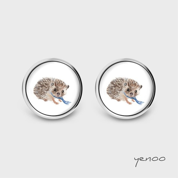 Earrings with graphics - Hedgehog