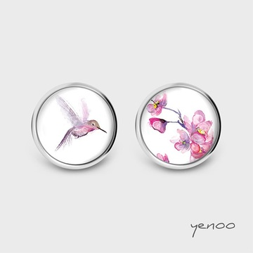 Earrings with graphics - Humming-Bird