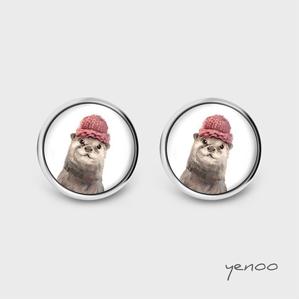 Earrings with graphics - Otter
