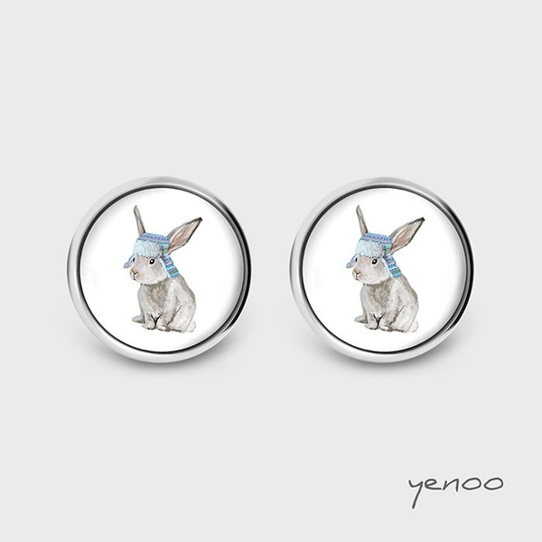 Earrings with graphics - Hare