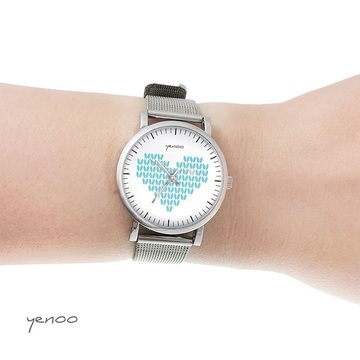 Watch, bracelet - turquoise knitted heart - small
