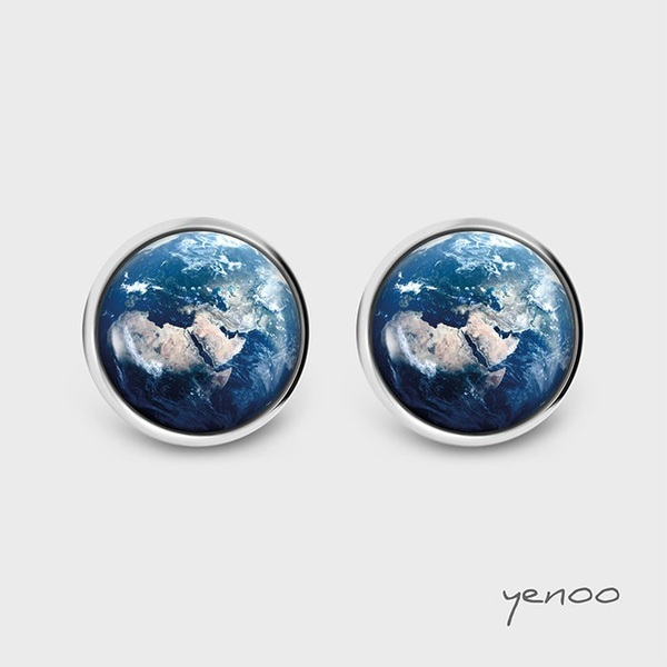 Earrings with graphics - Earth