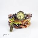 Zegarek, bransoletka - Brązowy boho - owijany