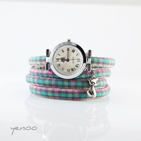 Zegarek, bransoletka - Kot - krata pastelowa