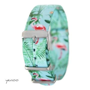 Watch strap - nylon, flamingos