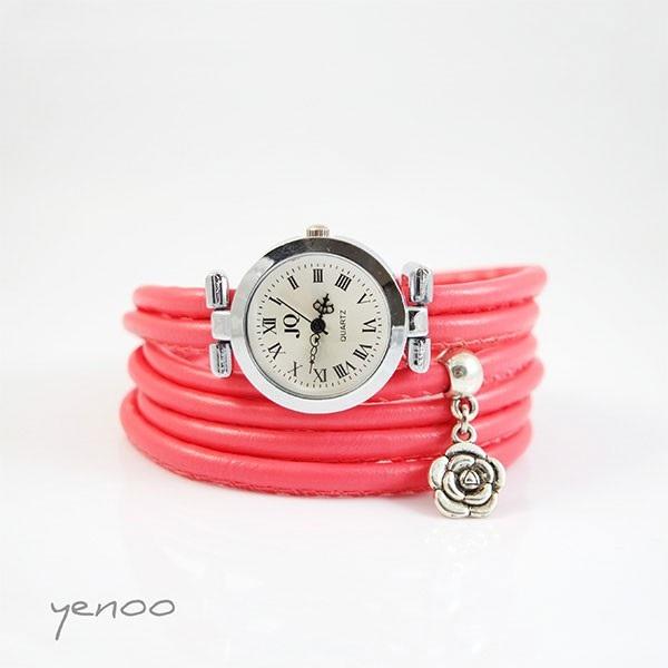 Zegarek, bransoletka - Różowy - Kwiatek