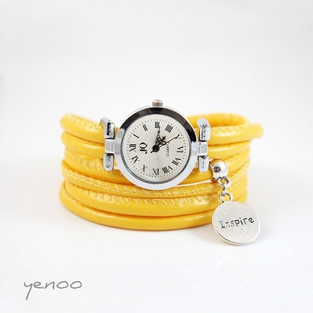 Zegarek, bransoletka - Żółty - Believe, inspire