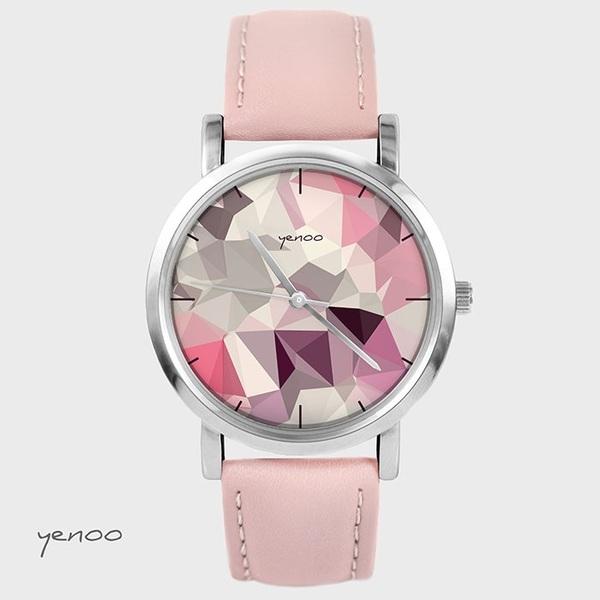 Zegarek, bransoletka - Geometric - pudrowy róż