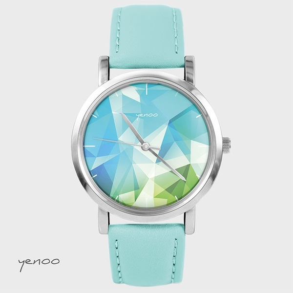Fashion watch, Bracelet - Butterflies - turquoise