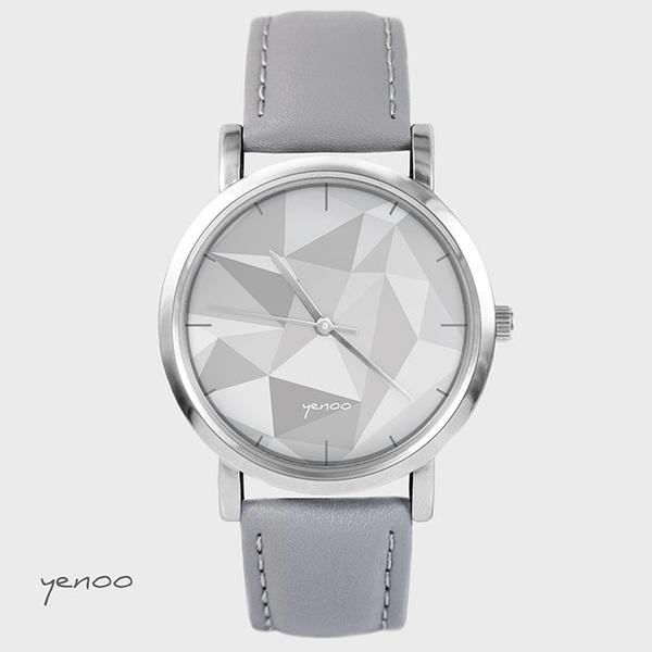 Zegarek, bransoletka - Geometric - szary