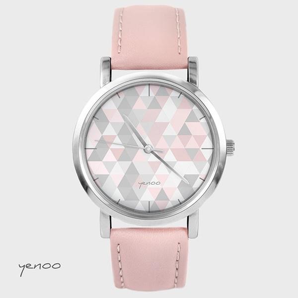 Zegarek, bransoletka - Geometric pastel - pudrowy róż