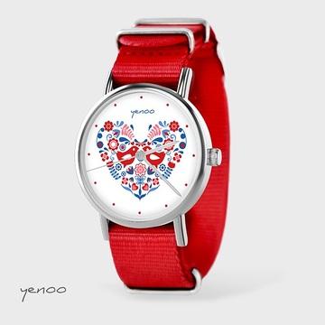 Watch - Folk birds, Red, nylon