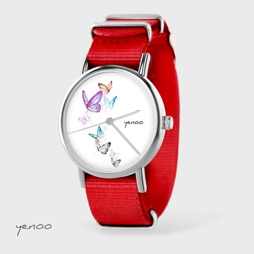 Watch - Butterflies, Red, nato