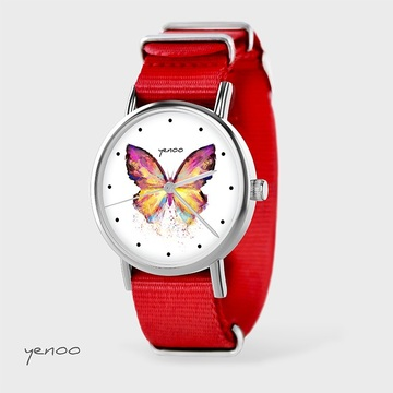 Watch - Butterfly, Red, nato