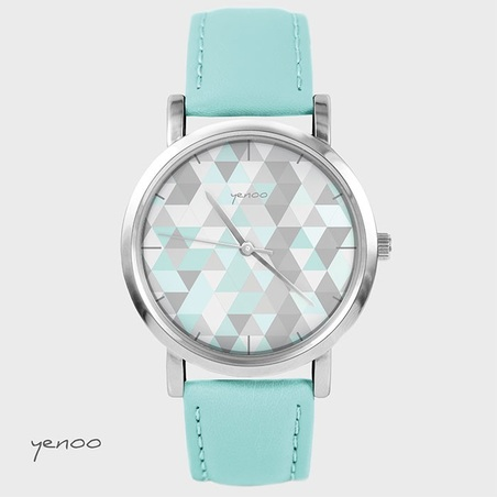 Zegarek, bransoletka - Geometric pastel - turkusowy