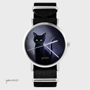 Watch - Night cat, Black, nato