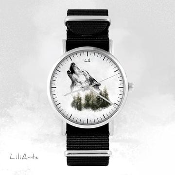 Zegarek - Wilk - Czarny, nato