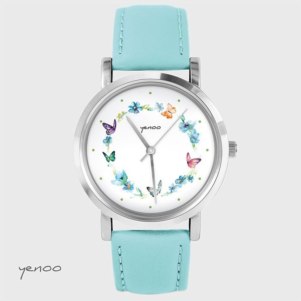 Fashion watch, Bracelet - Butterlies wreath - turquoise
