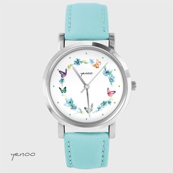 Zegarek, bransoletka - Kolorowy wianek - turkusowy