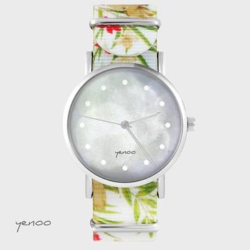 Watch - Grey, Flowers, nato