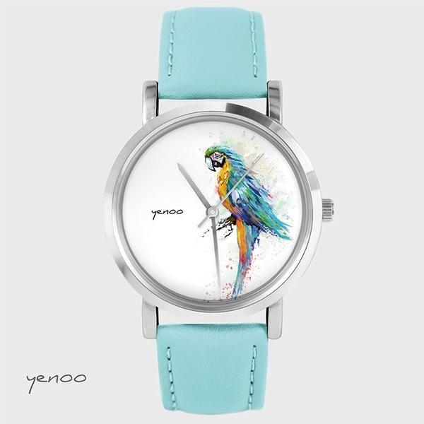 Zegarek, bransoletka - Turkusowa papuga - turkusowy