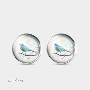 Turquoise bird - stud earrings