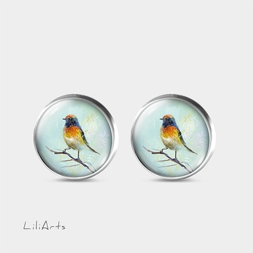 Colorful bird - stud earrings