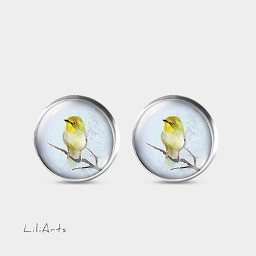 Yellow bird - stud earrings