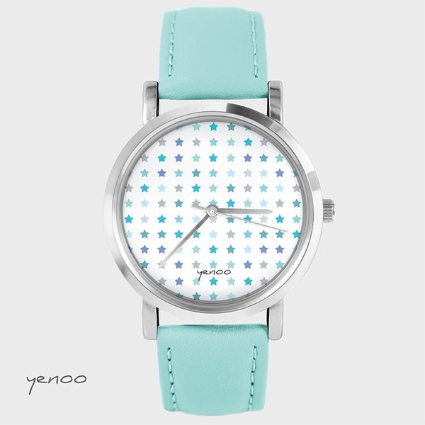 Fashion watch, Bracelet - Blue stars - turquoise
