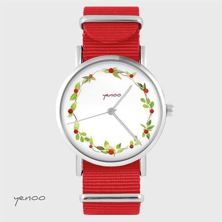 Watch - Wreath, wild rose - red, nato