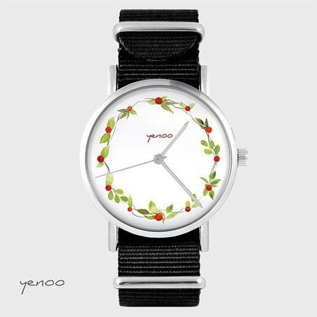 Watch - Wreath, wild rose - black, nato