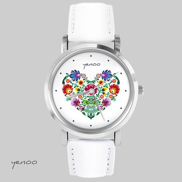 Zegarek, bransoletka - Folkowe serce - biały