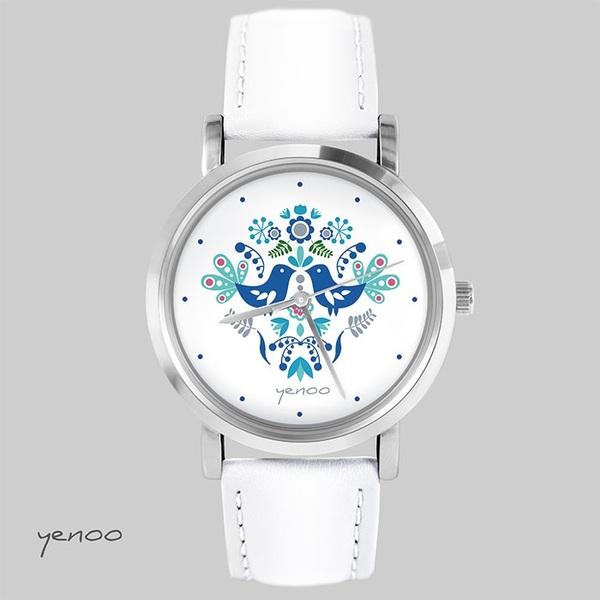 Zegarek, bransoletka - Folkowe ptaszki, niebieskie - biały