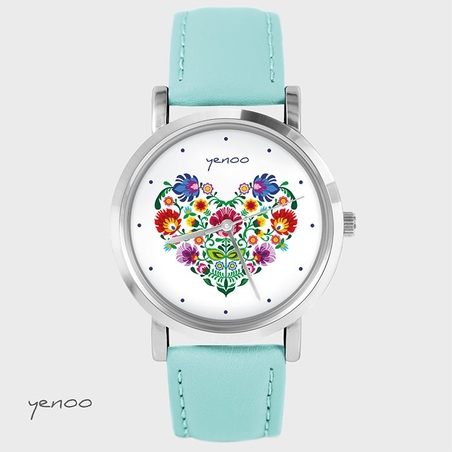 Zegarek, bransoletka - Folkowe serce - turkusowy