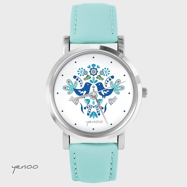 Zegarek, bransoletka - Folkowe ptaszki, niebieskie - turkusowy