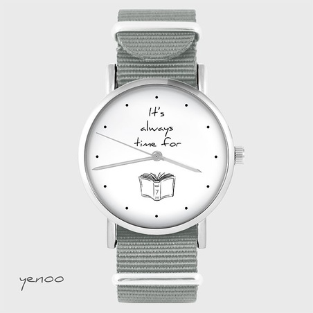 Watch - It is always time for a book - grey, nylon