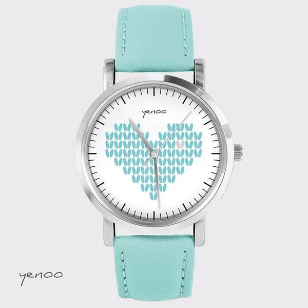 Zegarek, bransoletka - Serce dziergane - turkusowy